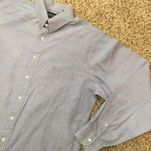 Lands' End Chambray Dress Shirt Mens Tall 16-36